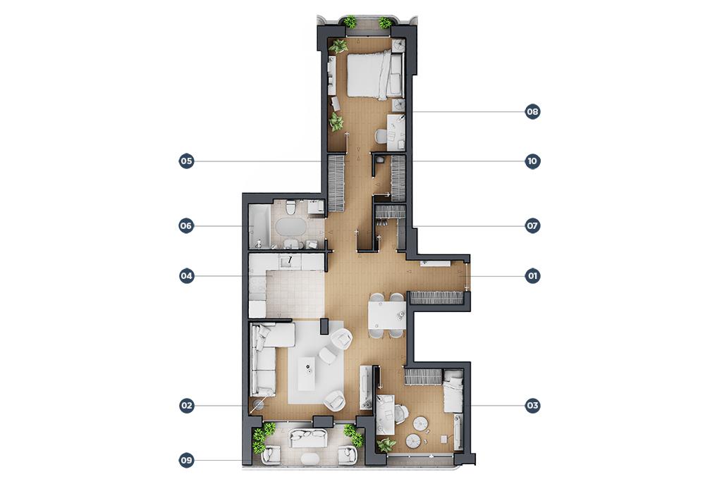 Trosoban stan floor plan