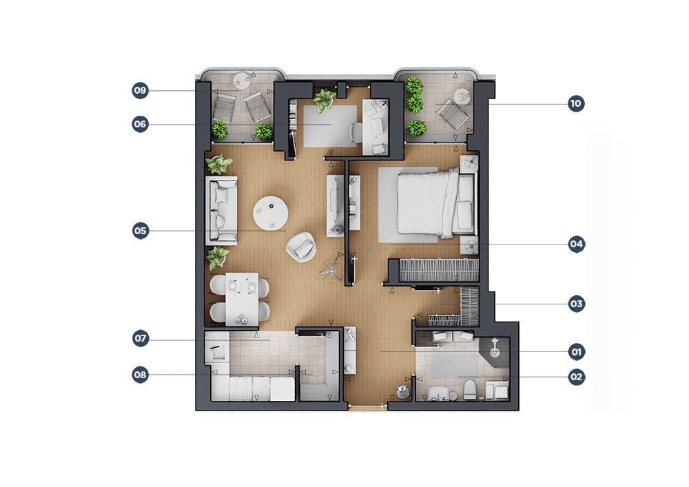 Dvosoban stan floor plan